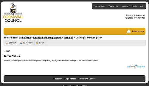 CC Planning Portal Error